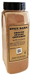 Ground Ceylon Cinnamon Quart Container.